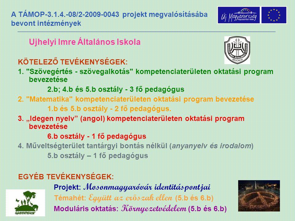 A TÁMOP-3.1.4.-08/2-2009-0043 projekt megvalósításába bevont intézmények Ujhelyi Imre Általános Iskola KÖTELEZŐ TEVÉKENYSÉGEK: 1.