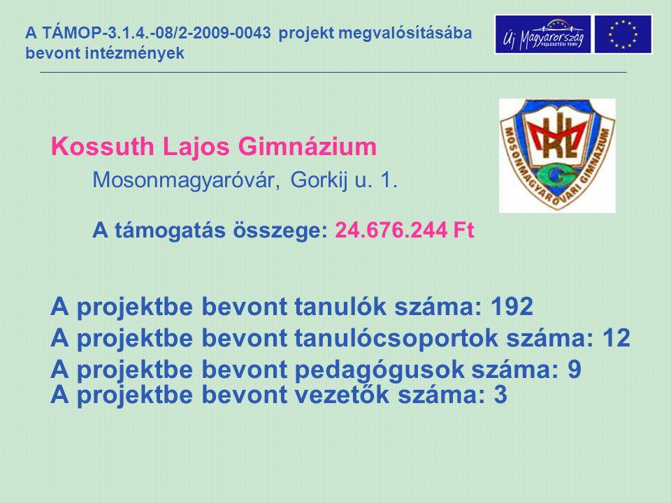 A TÁMOP-3.1.4.-08/2-2009-0043 projekt megvalósításába bevont intézmények Kossuth Lajos Gimnázium KÖTELEZŐ TEVÉKENYSÉGEK: 1.