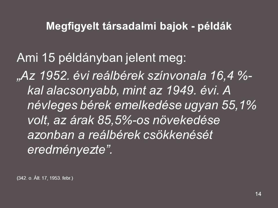 """14 Megfigyelt társadalmi bajok - példák Ami 15 példányban jelent meg: """"Az 1952. évi reálbérek színvonala 16,4 %- kal alacsonyabb, mint az 1949. évi. A"""