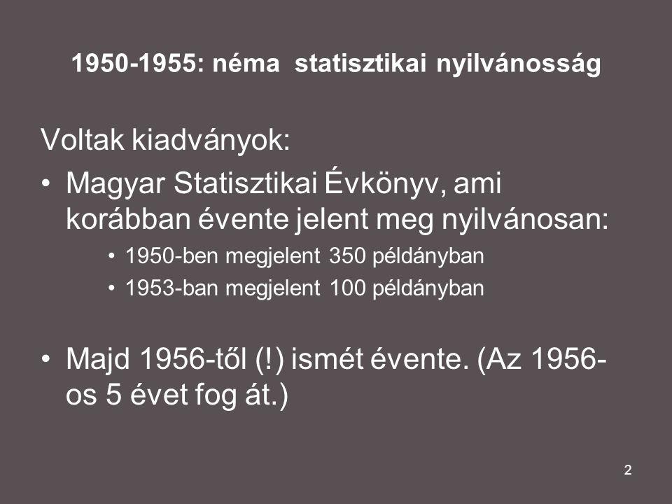 2 1950-1955: néma statisztikai nyilvánosság Voltak kiadványok: •Magyar Statisztikai Évkönyv, ami korábban évente jelent meg nyilvánosan: •1950-ben megjelent 350 példányban •1953-ban megjelent 100 példányban •Majd 1956-től (!) ismét évente.