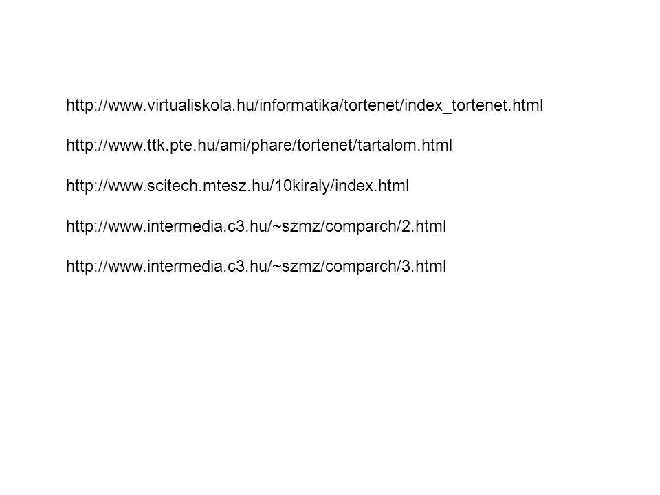 http://www.intermedia.c3.hu/~szmz/comparch/2.html http://www.intermedia.c3.hu/~szmz/comparch/3.html http://www.ttk.pte.hu/ami/phare/tortenet/tartalom.