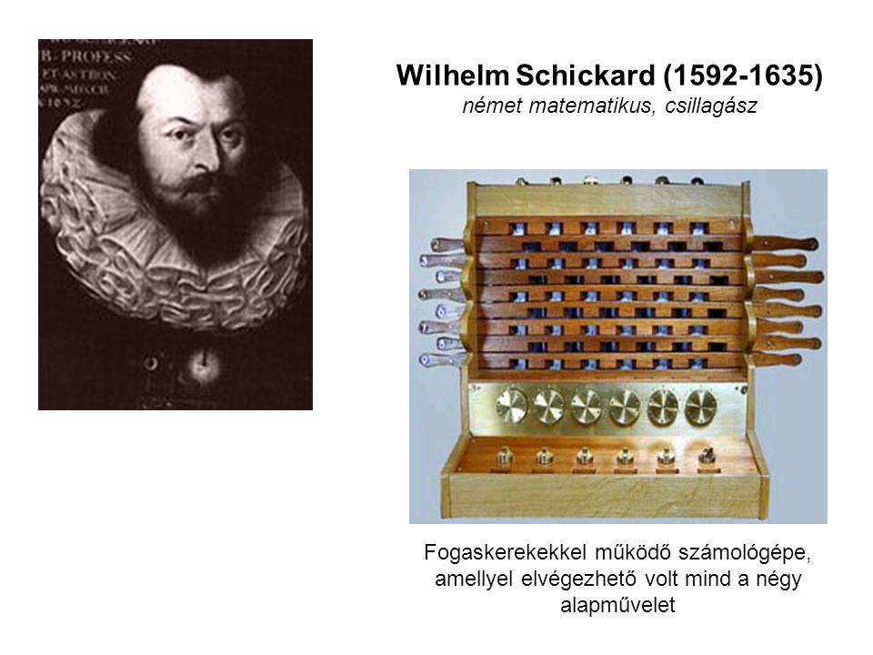 Wilhelm Schickard (1592-1635) német matematikus, csillagász Fogaskerekekkel működő számológépe, amellyel elvégezhető volt mind a négy alapművelet