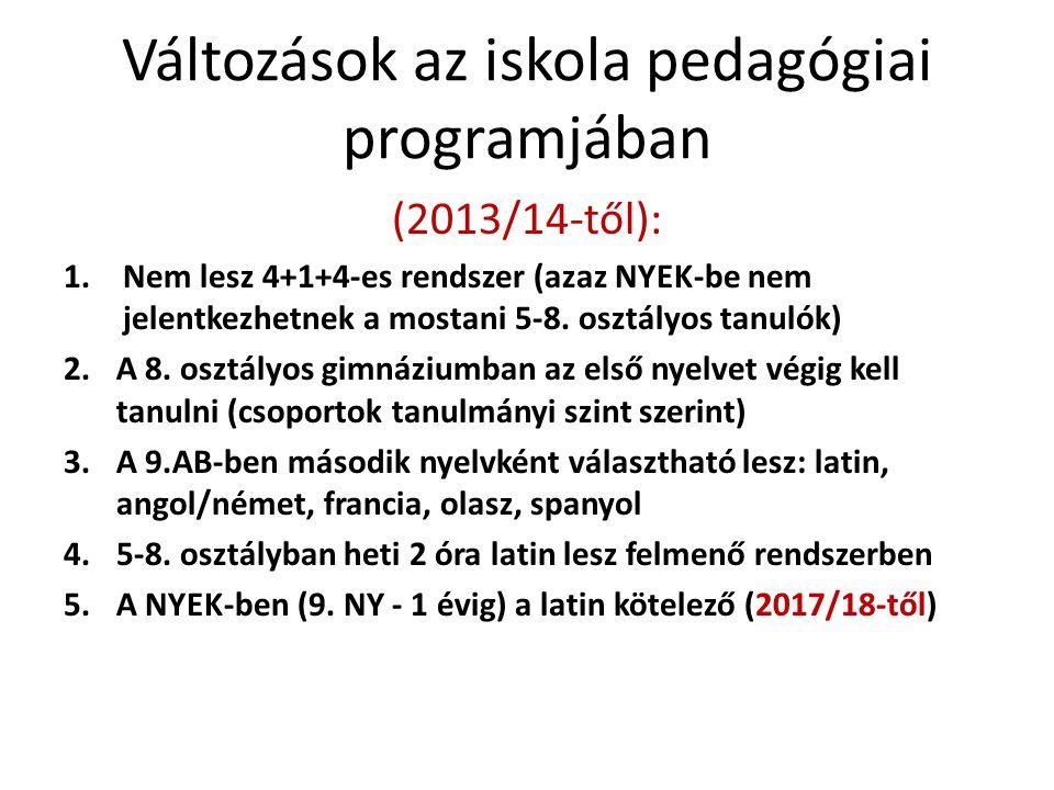 Változások az iskola pedagógiai programjában (2013/14-től): 1.Nem lesz 4+1+4-es rendszer (azaz NYEK-be nem jelentkezhetnek a mostani 5-8. osztályos ta