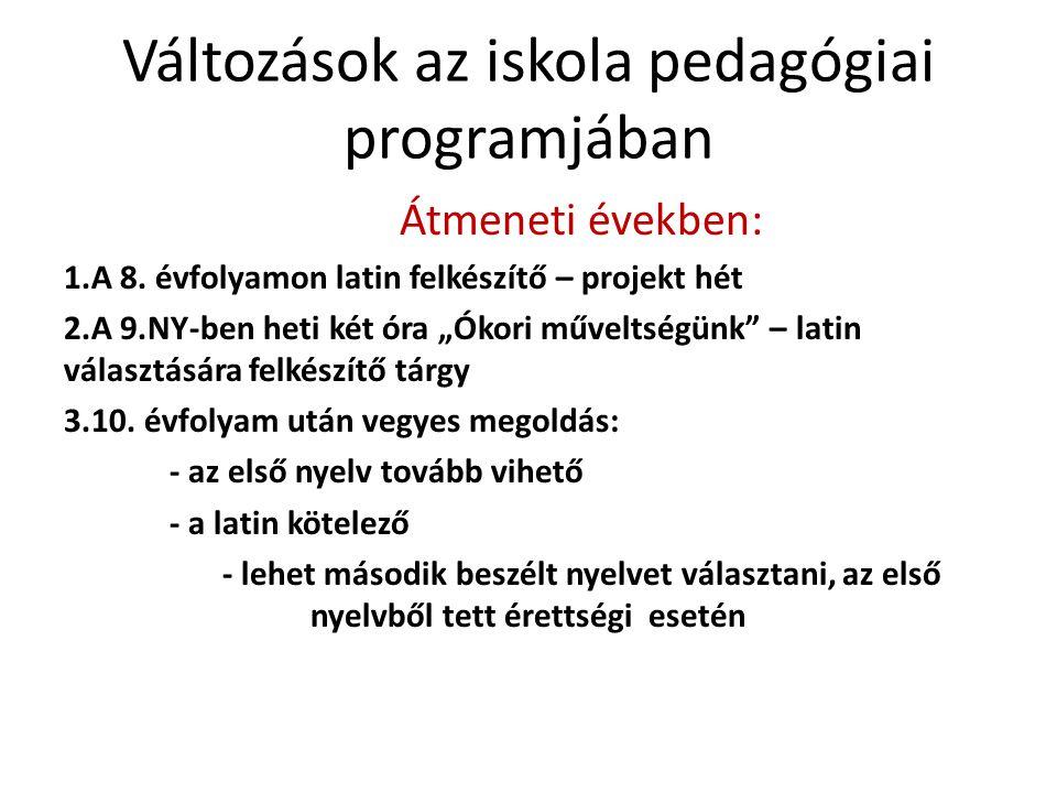 Változások az iskola pedagógiai programjában Átmeneti években: 1.A 8.