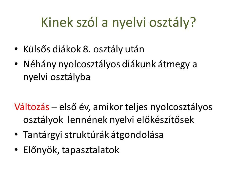 Kinek szól a nyelvi osztály. • Külsős diákok 8.