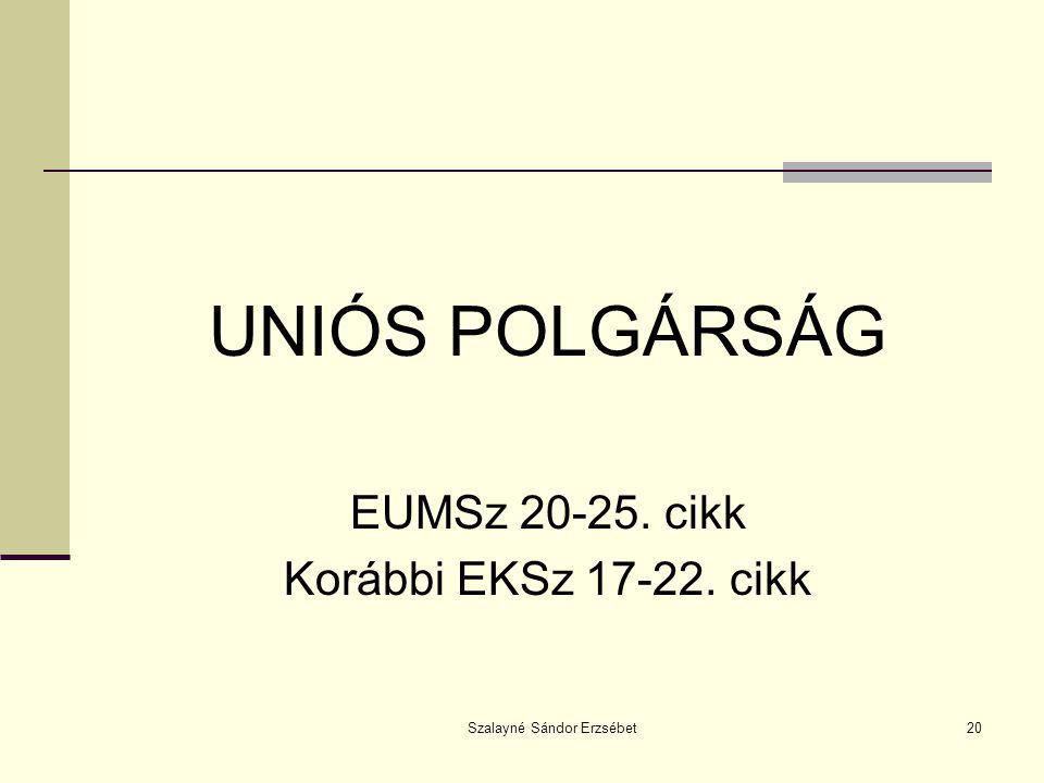 Szalayné Sándor Erzsébet20 UNIÓS POLGÁRSÁG EUMSz 20-25. cikk Korábbi EKSz 17-22. cikk