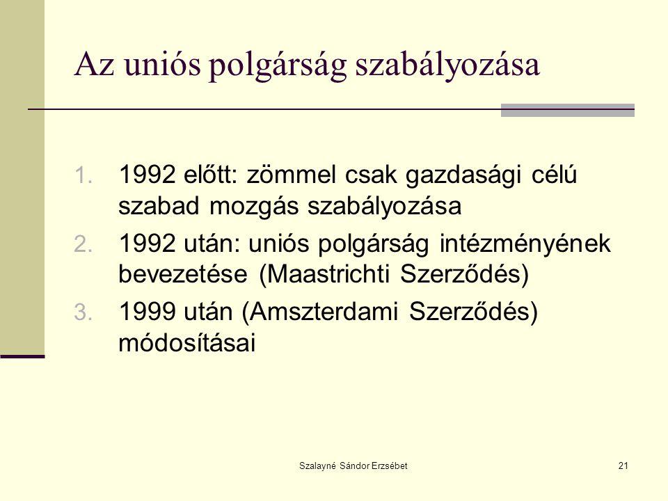 Szalayné Sándor Erzsébet21 Az uniós polgárság szabályozása 1. 1992 előtt: zömmel csak gazdasági célú szabad mozgás szabályozása 2. 1992 után: uniós po