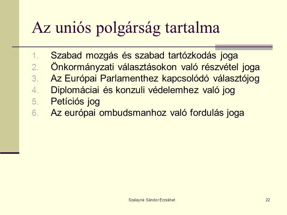 Szalayné Sándor Erzsébet22 Az uniós polgárság tartalma 1. Szabad mozgás és szabad tartózkodás joga 2. Önkormányzati választásokon való részvétel joga