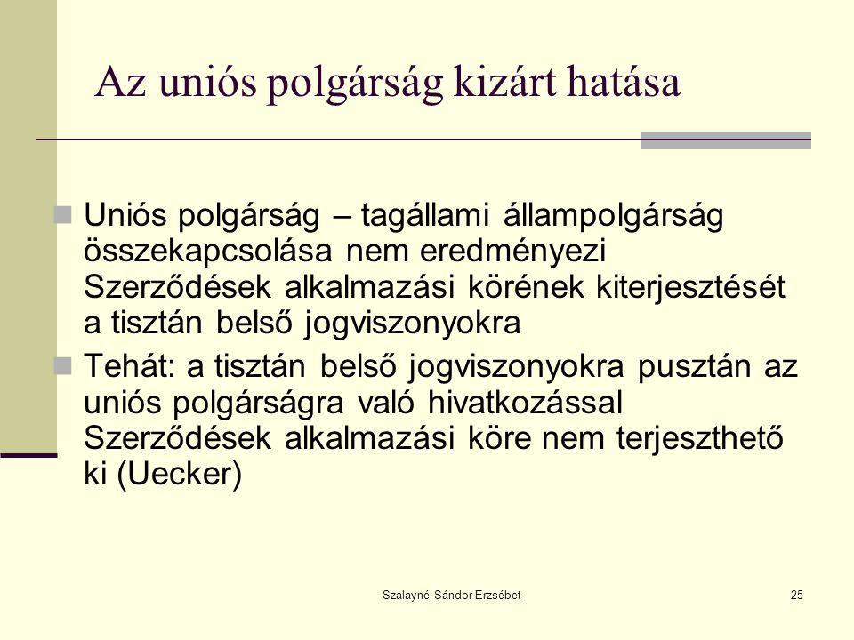 Szalayné Sándor Erzsébet25 Az uniós polgárság kizárt hatása  Uniós polgárság – tagállami állampolgárság összekapcsolása nem eredményezi Szerződések a