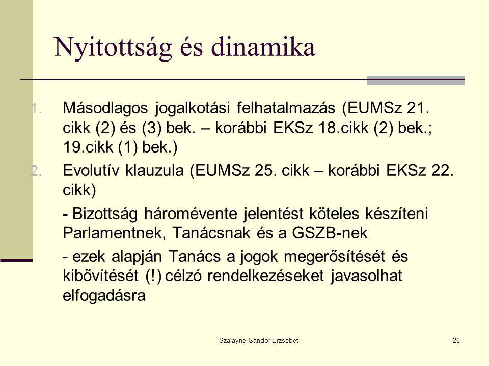 Szalayné Sándor Erzsébet26 Nyitottság és dinamika 1. Másodlagos jogalkotási felhatalmazás (EUMSz 21. cikk (2) és (3) bek. – korábbi EKSz 18.cikk (2) b