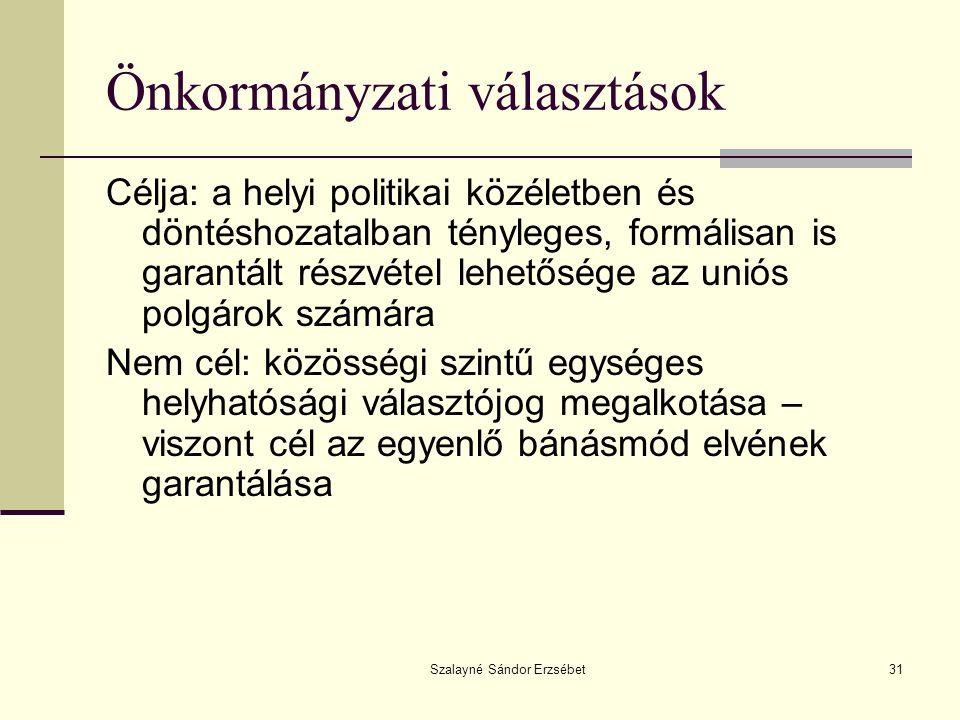 Szalayné Sándor Erzsébet31 Önkormányzati választások Célja: a helyi politikai közéletben és döntéshozatalban tényleges, formálisan is garantált részvé