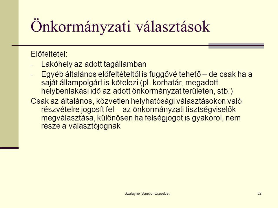Szalayné Sándor Erzsébet32 Önkormányzati választások Előfeltétel: - Lakóhely az adott tagállamban - Egyéb általános előfeltételtől is függővé tehető –