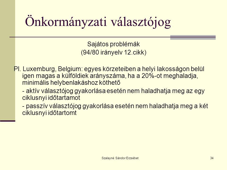 Szalayné Sándor Erzsébet34 Önkormányzati választójog Sajátos problémák (94/80 irányelv 12.cikk) Pl. Luxemburg, Belgium: egyes körzeteiben a helyi lako