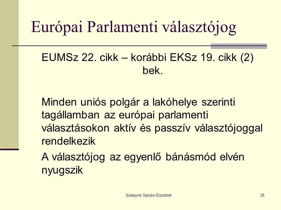 Szalayné Sándor Erzsébet35 Európai Parlamenti választójog EUMSz 22. cikk – korábbi EKSz 19. cikk (2) bek. Minden uniós polgár a lakóhelye szerinti tag