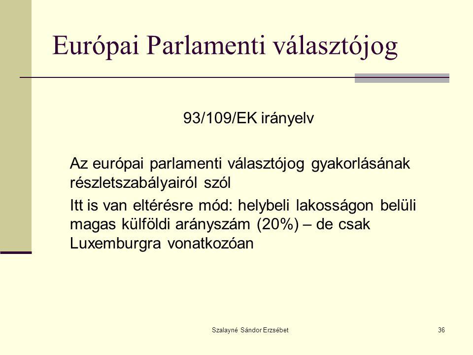 Szalayné Sándor Erzsébet36 Európai Parlamenti választójog 93/109/EK irányelv Az európai parlamenti választójog gyakorlásának részletszabályairól szól
