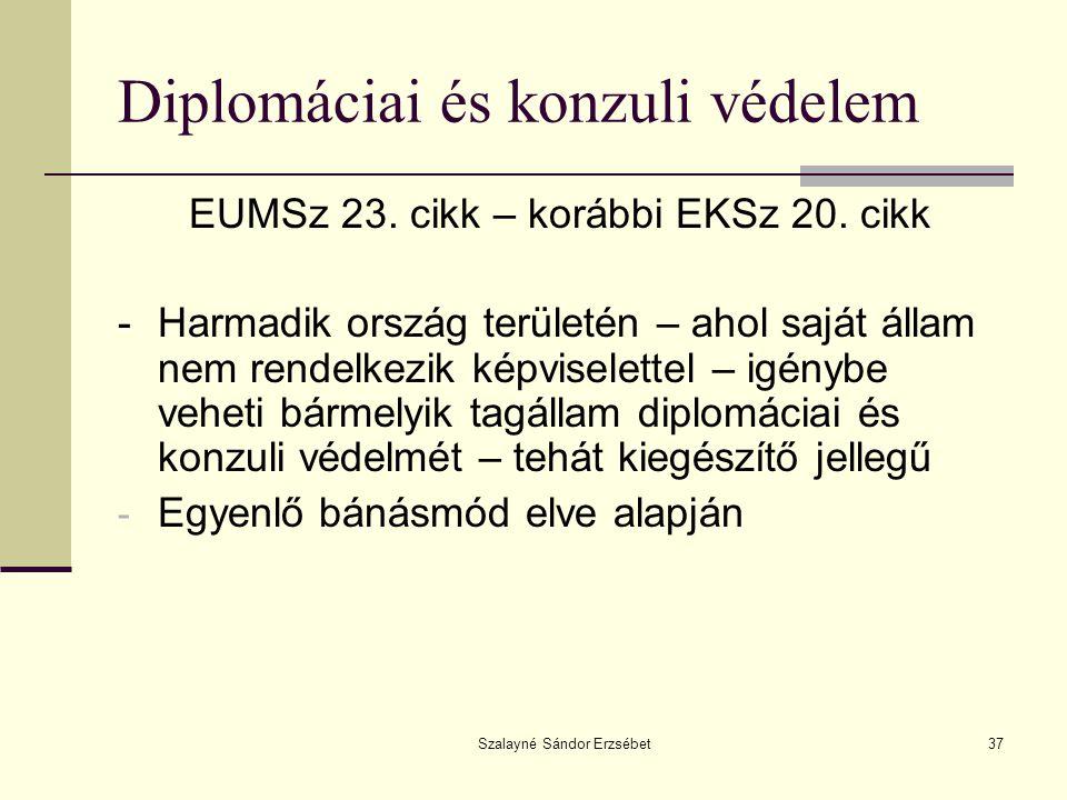 Szalayné Sándor Erzsébet37 Diplomáciai és konzuli védelem EUMSz 23. cikk – korábbi EKSz 20. cikk -Harmadik ország területén – ahol saját állam nem ren