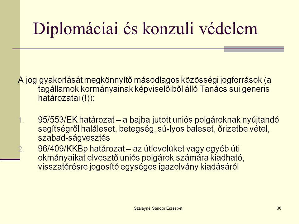 Szalayné Sándor Erzsébet38 Diplomáciai és konzuli védelem A jog gyakorlását megkönnyítő másodlagos közösségi jogforrások (a tagállamok kormányainak ké