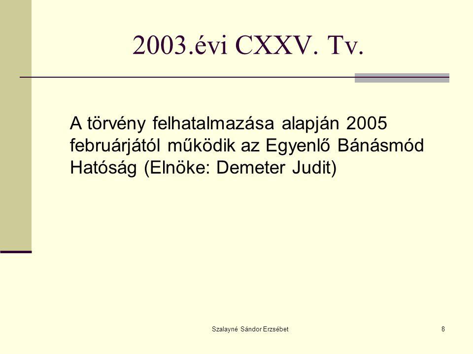 Szalayné Sándor Erzsébet8 2003.évi CXXV. Tv. A törvény felhatalmazása alapján 2005 februárjától működik az Egyenlő Bánásmód Hatóság (Elnöke: Demeter J