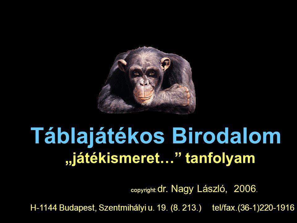 """Táblajátékos Birodalom """"játékismeret…"""" tanfolyam copyright: dr. Nagy László, 2006. H-1144 Budapest, Szentmihályi u. 19. (8. 213.) tel/fax.(36-1)220-19"""