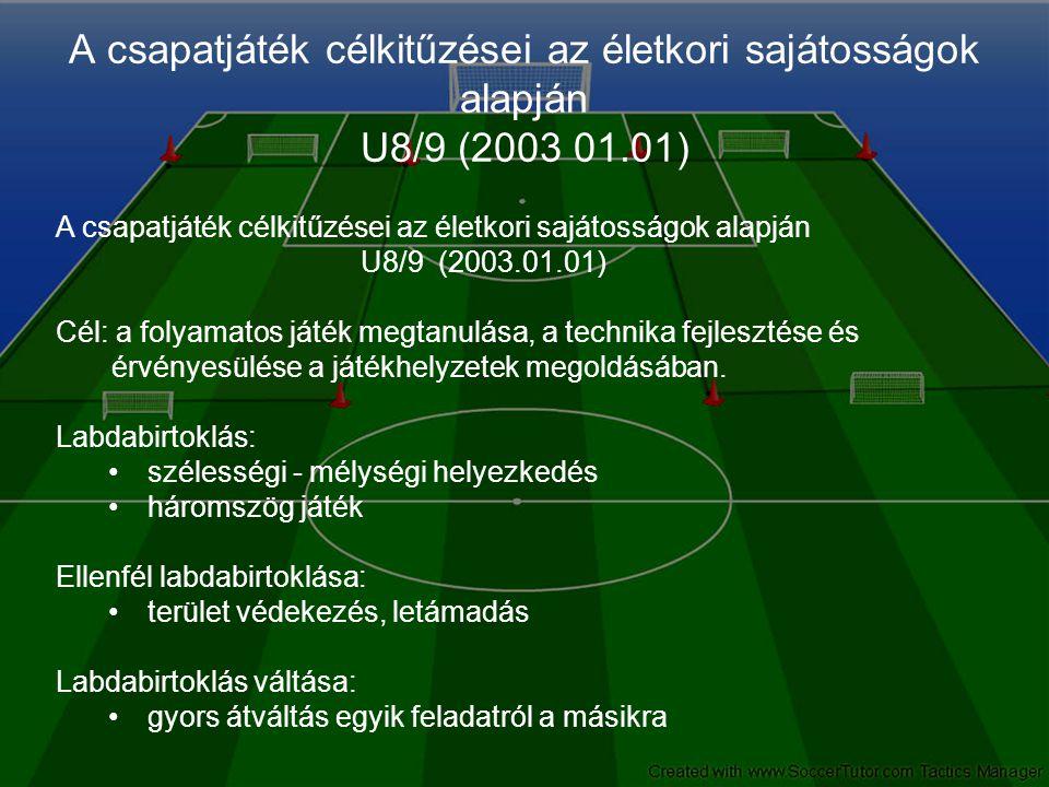 A csapatjáték célkitűzései az életkori sajátosságok alapján U8/9 (2003 01.01) A csapatjáték célkitűzései az életkori sajátosságok alapján U8/9 (2003.01.01) Cél: a folyamatos játék megtanulása, a technika fejlesztése és érvényesülése a játékhelyzetek megoldásában.