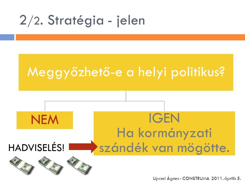 2 /2. Stratégia - jelen Meggyőzhető-e a helyi politikus.