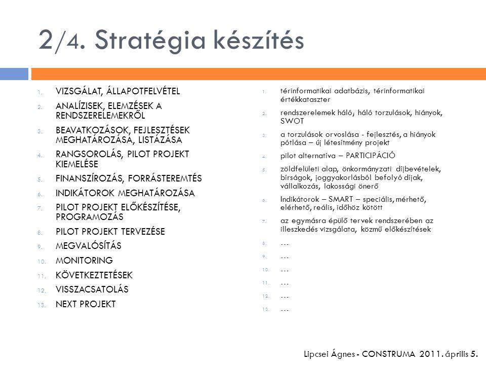2 /4. Stratégia készítés 1. VIZSGÁLAT, ÁLLAPOTFELVÉTEL 2. ANALÍZISEK, ELEMZÉSEK A RENDSZERELEMEKRŐL 3. BEAVATKOZÁSOK, FEJLESZTÉSEK MEGHATÁROZÁSA, LIST