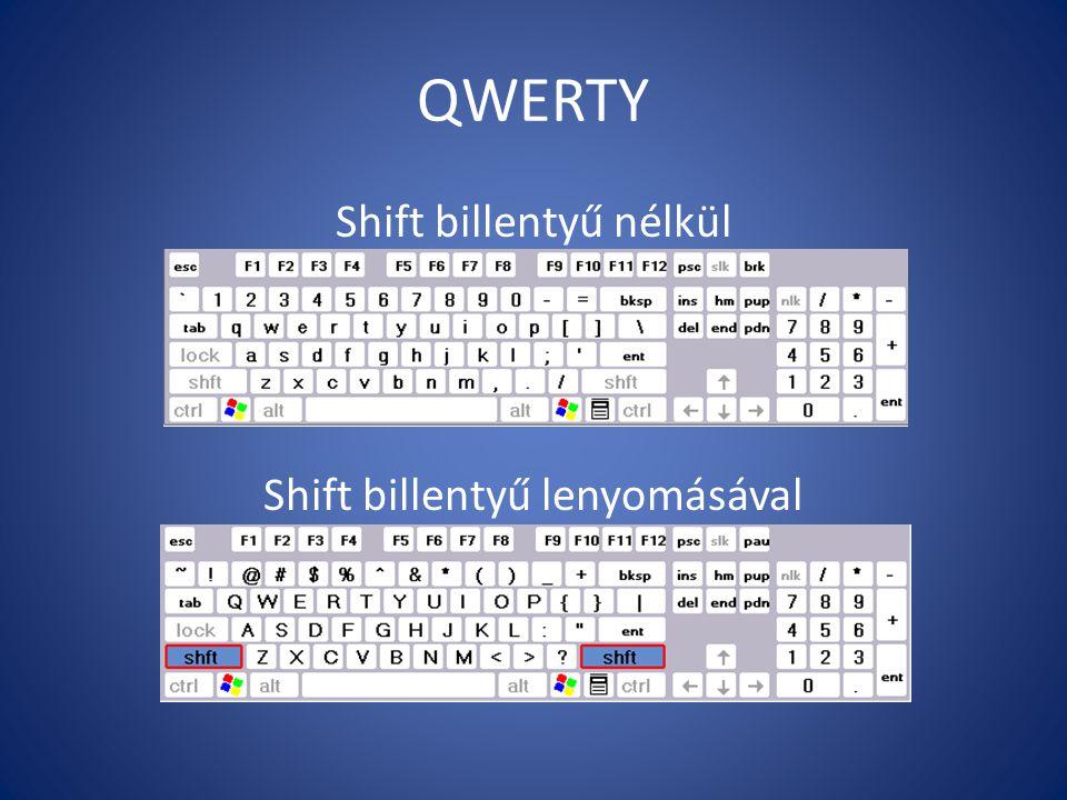 QWERTY Shift billentyű nélkül Shift billentyű lenyomásával