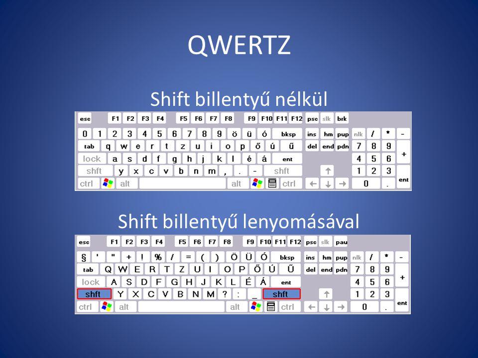 QWERTZ Shift billentyű nélkül Shift billentyű lenyomásával