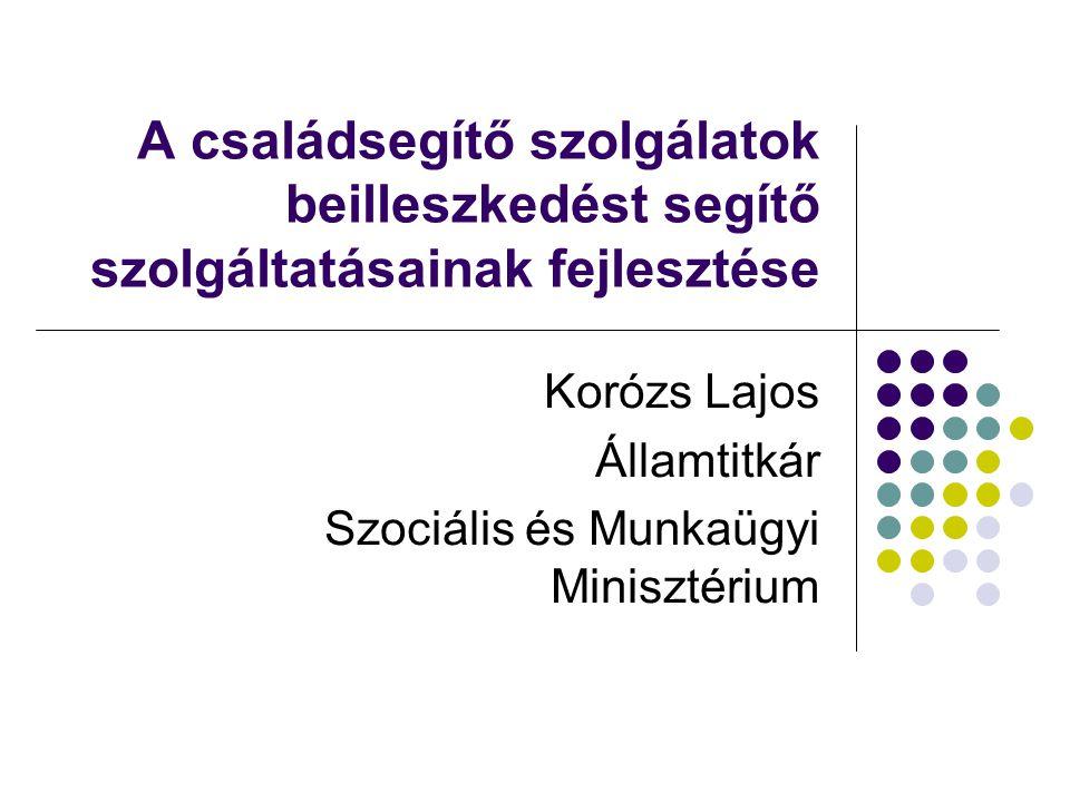 A családsegítő szolgálatok beilleszkedést segítő szolgáltatásainak fejlesztése Korózs Lajos Államtitkár Szociális és Munkaügyi Minisztérium