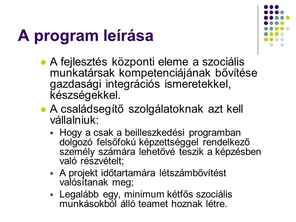 A program leírása  A fejlesztés központi eleme a szociális munkatársak kompetenciájának bővítése gazdasági integrációs ismeretekkel, készségekkel.