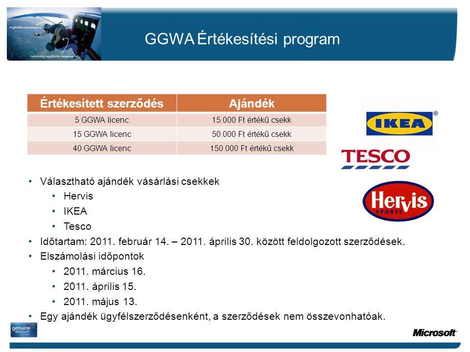 Értékesített szerződésAjándék 5 GGWA licenc15.000 Ft értékű csekk 15 GGWA licenc50.000 Ft értékű csekk 40 GGWA licenc150.000 Ft értékű csekk •Választh