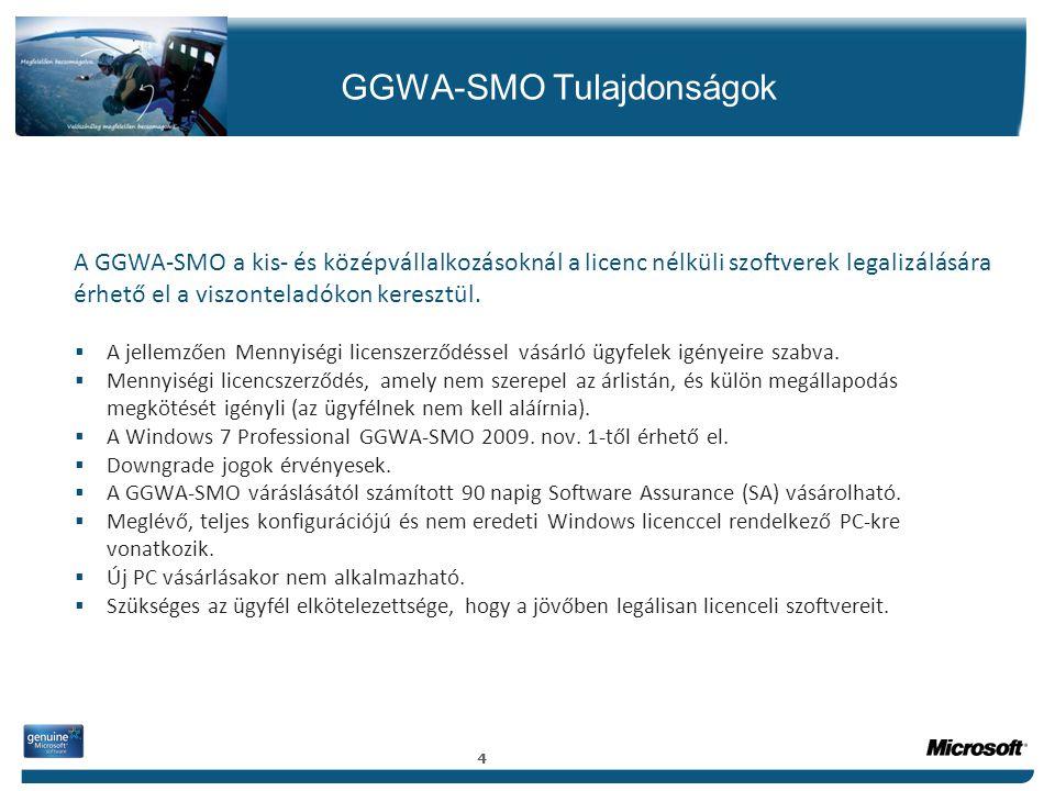 GGWA-SMO Tulajdonságok A GGWA-SMO a kis- és középvállalkozásoknál a licenc nélküli szoftverek legalizálására érhető el a viszonteladókon keresztül. 