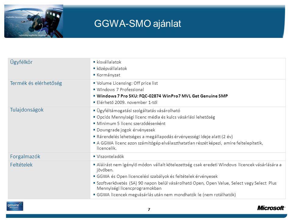 GGWA-SMO ajánlat Ügyfélkör  kisvállalatok  középvállalatok  Kormányzat Termék és elérhetőség  Volume Licensing: Off price list  Windows 7 Profess
