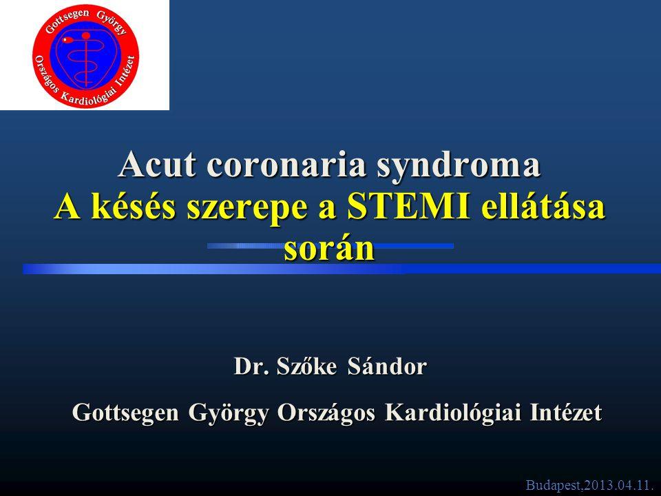 Akut koronária szindróma besorolása (szívroham) •Non-STE ACS • Részleges elzáródás • Csökkent vérellátás a szív egy részében • Rizikó stratifikáció elengedhetetlen •STE ACS • Teljes érelzáródás • Teljes vértelenség a szív egy részében • Gyors reperfúzió elengedhetetlen •Infarktust okozó ér megnyitása teljes reperfúzióval 2 Completely blocked artery Partially blocked artery