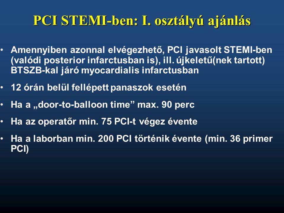 PCI STEMI-ben: I. osztályú ajánlás •Amennyiben azonnal elvégezhető, PCI javasolt STEMI-ben (valódi posterior infarctusban is), ill. újkeletű(nek tarto