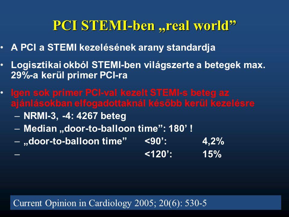 "PCI STEMI-ben ""real world"" Current Opinion in Cardiology 2005; 20(6): 530-5 •A PCI a STEMI kezelésének arany standardja •Logisztikai okból STEMI-ben v"
