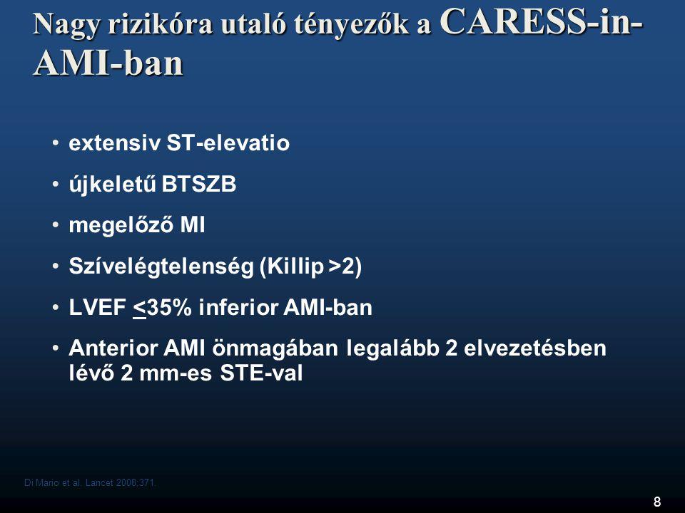 8 Nagy rizikóra utaló tényezők a CARESS-in- AMI-ban •extensiv ST-elevatio •újkeletű BTSZB •megelőző MI •Szívelégtelenség (Killip >2) •LVEF <35% inferi