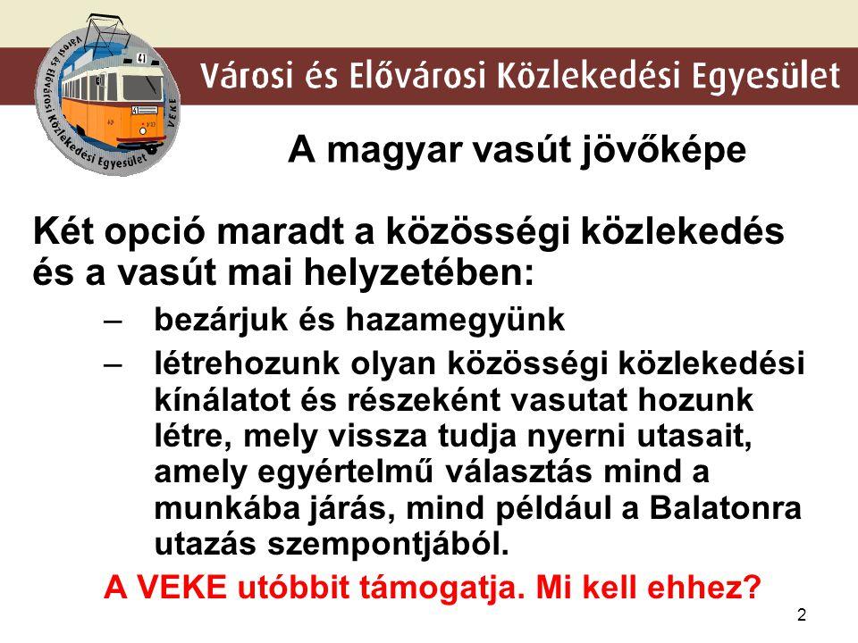 2 A magyar vasút jövőképe Két opció maradt a közösségi közlekedés és a vasút mai helyzetében: –bezárjuk és hazamegyünk –létrehozunk olyan közösségi kö