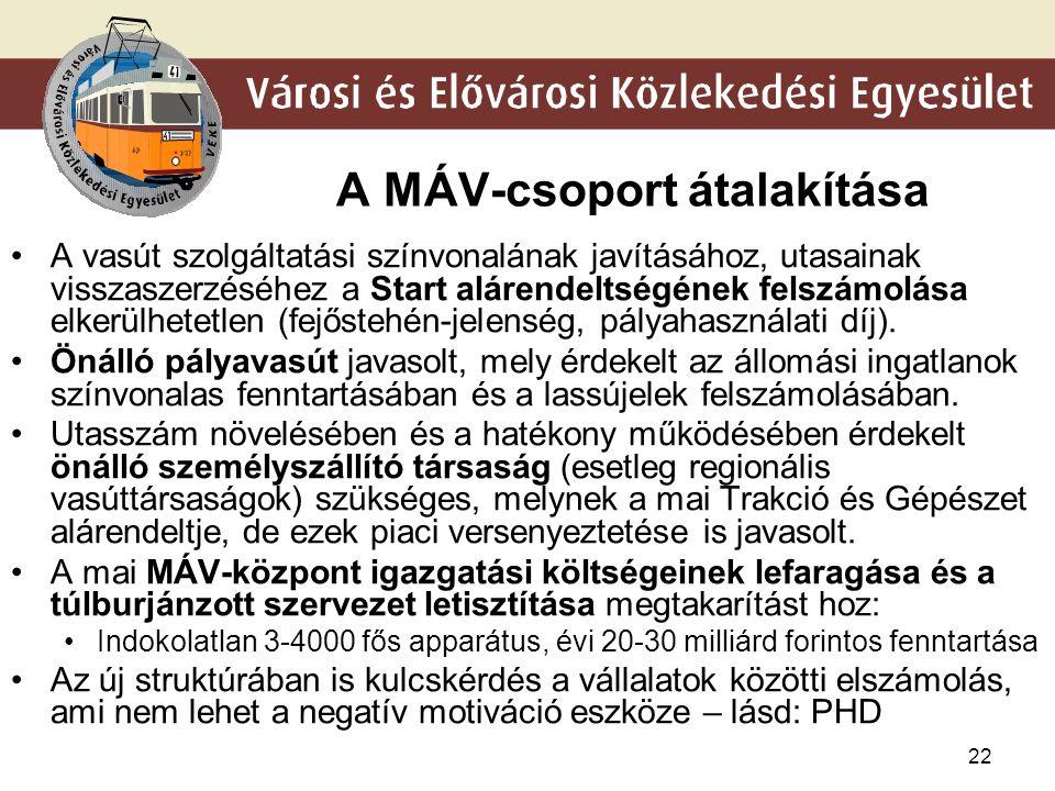 22 A MÁV-csoport átalakítása •A vasút szolgáltatási színvonalának javításához, utasainak visszaszerzéséhez a Start alárendeltségének felszámolása elke