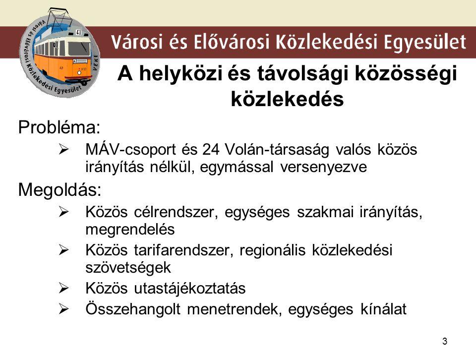 3 A helyközi és távolsági közösségi közlekedés Probléma:  MÁV-csoport és 24 Volán-társaság valós közös irányítás nélkül, egymással versenyezve Megold