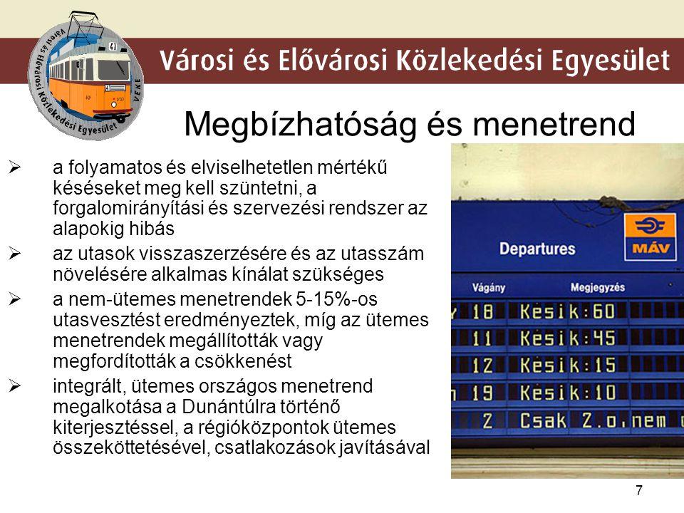 7 Megbízhatóság és menetrend  a folyamatos és elviselhetetlen mértékű késéseket meg kell szüntetni, a forgalomirányítási és szervezési rendszer az al