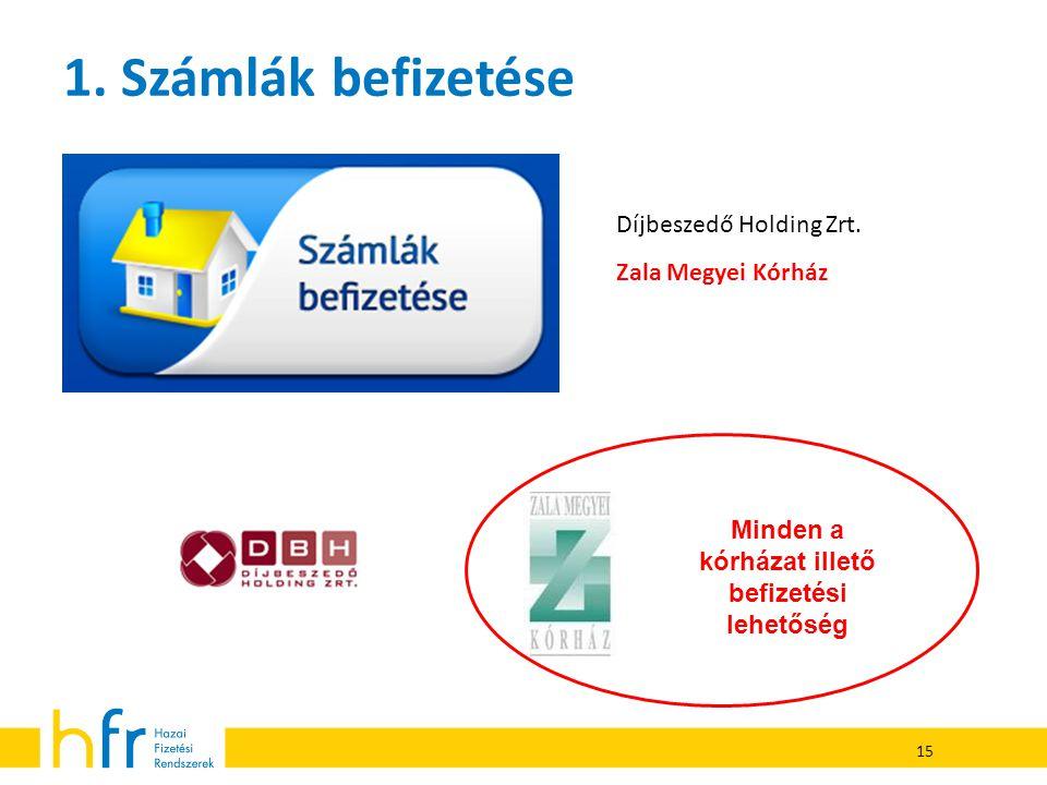 15 1. Számlák befizetése Díjbeszedő Holding Zrt. Zala Megyei Kórház Minden a kórházat illető befizetési lehetőség