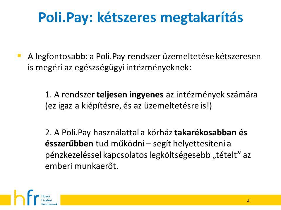 Poli.Pay: kétszeres megtakarítás  A legfontosabb: a Poli.Pay rendszer üzemeltetése kétszeresen is megéri az egészségügyi intézményeknek: 1. A rendsze