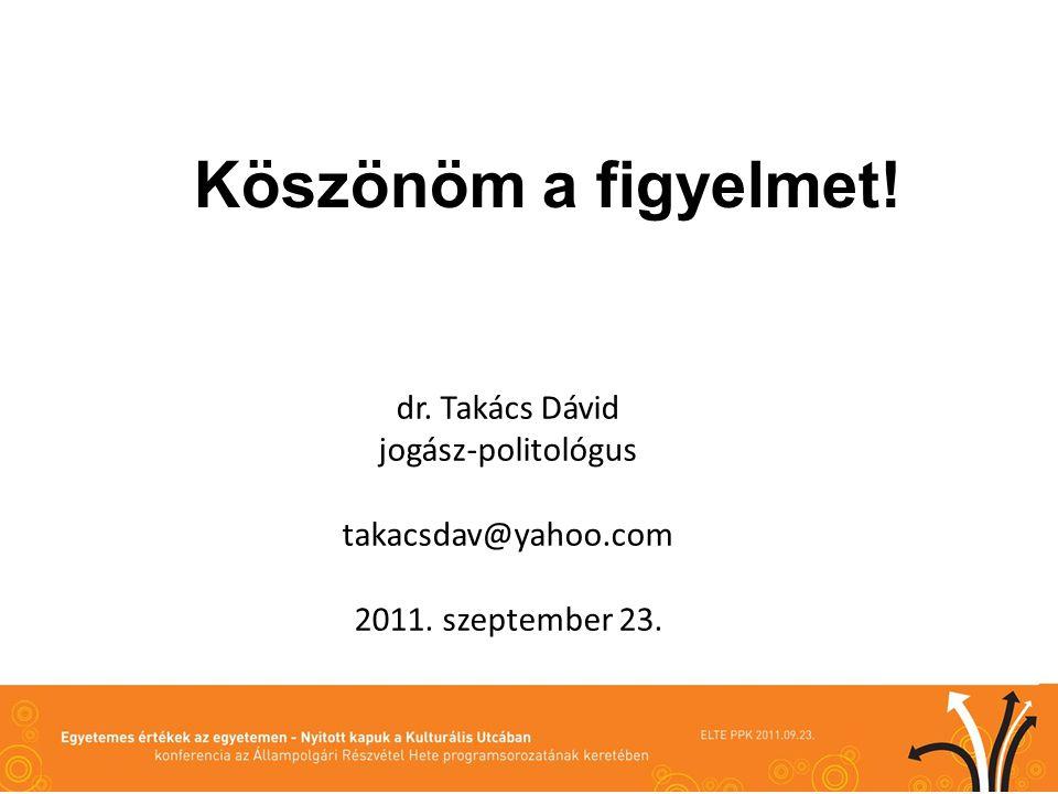 dr. Takács Dávid jogász-politológus takacsdav@yahoo.com 2011. szeptember 23. Köszönöm a figyelmet!