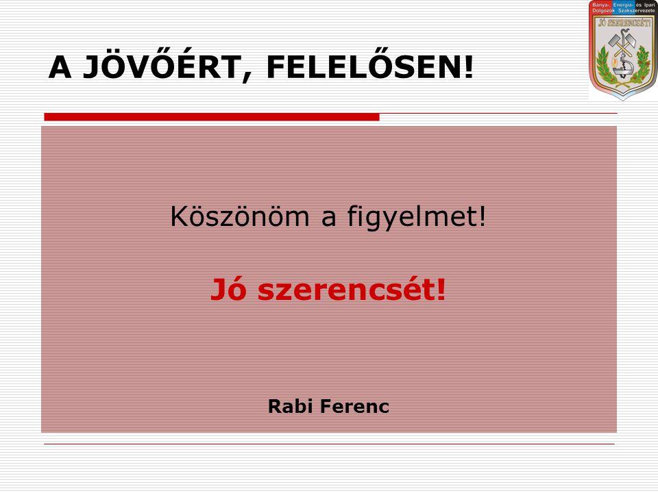 A JÖVŐÉRT, FELELŐSEN! Köszönöm a figyelmet! Jó szerencsét! Rabi Ferenc