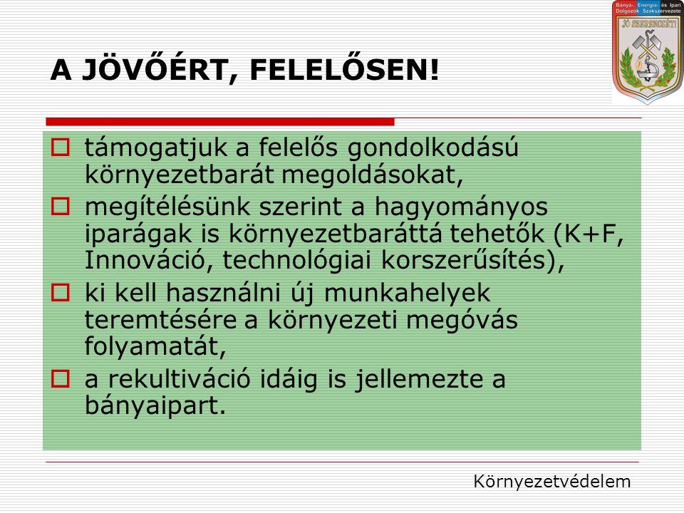 A JÖVŐÉRT, FELELŐSEN.