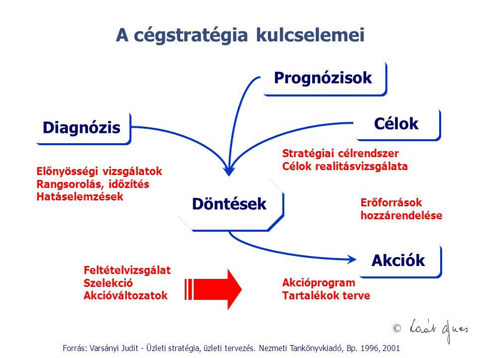© Prognózisok Diagnózis Döntések Célok Akciók Előnyösségi vizsgálatok Rangsorolás, időzítés Hatáselemzések Akcióprogram Tartalékok terve Erőforrások h