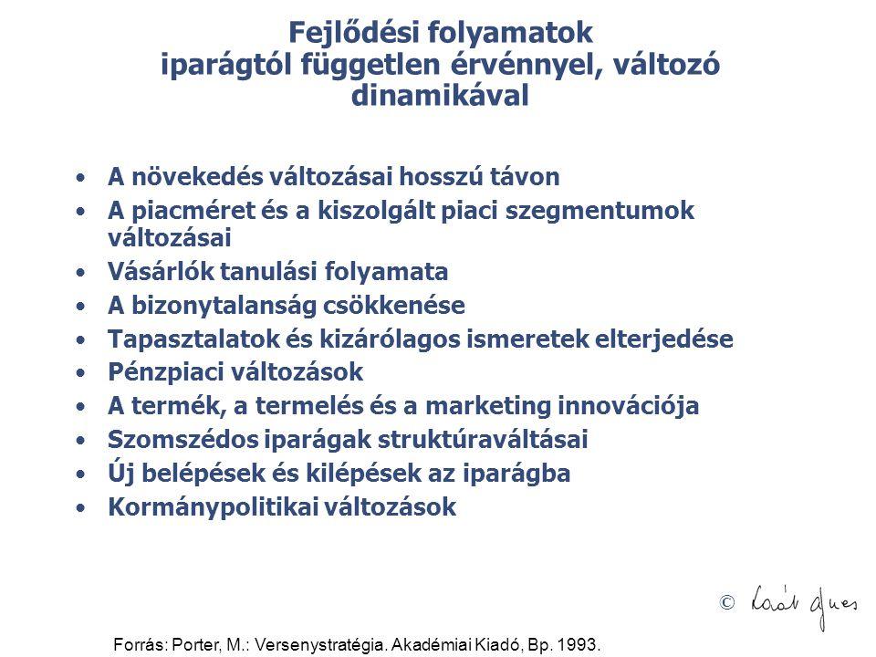 © Forrás: Porter, M.: Versenystratégia. Akadémiai Kiadó, Bp. 1993. Fejlődési folyamatok iparágtól független érvénnyel, változó dinamikával •A növekedé
