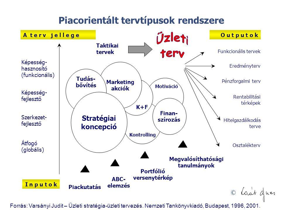 © Képesség- hasznosító (funkcionális) Képesség- fejlesztő Szerkezet- fejlesztő Átfogó (globális) I n p u t o k Pénzforgalmi terv Eredményterv Funkcion
