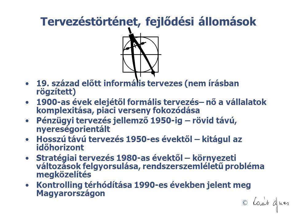 © Tervezéstörténet, fejlődési állomások •19. század előtt informális tervezes (nem írásban rögzített) •1900-as évek elejétől formális tervezés– nő a v